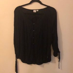 Roxy Button Down Blouse with Tie Sleeves Black S